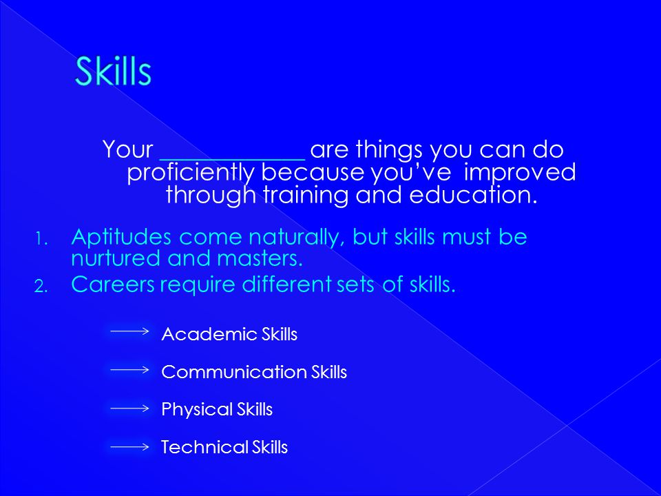 Skills Your ____________ are things you can do proficiently because you've improved through training and education.