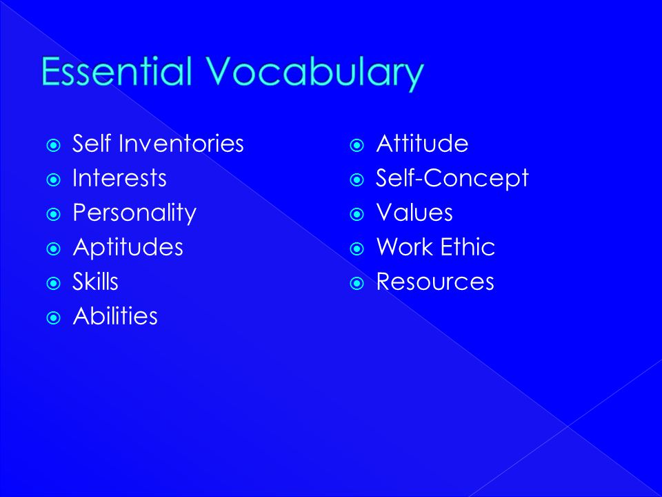 Essential Vocabulary Self Inventories Interests Personality Aptitudes