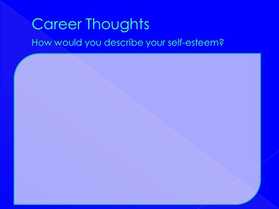 Career Thoughts How would you describe your self-esteem