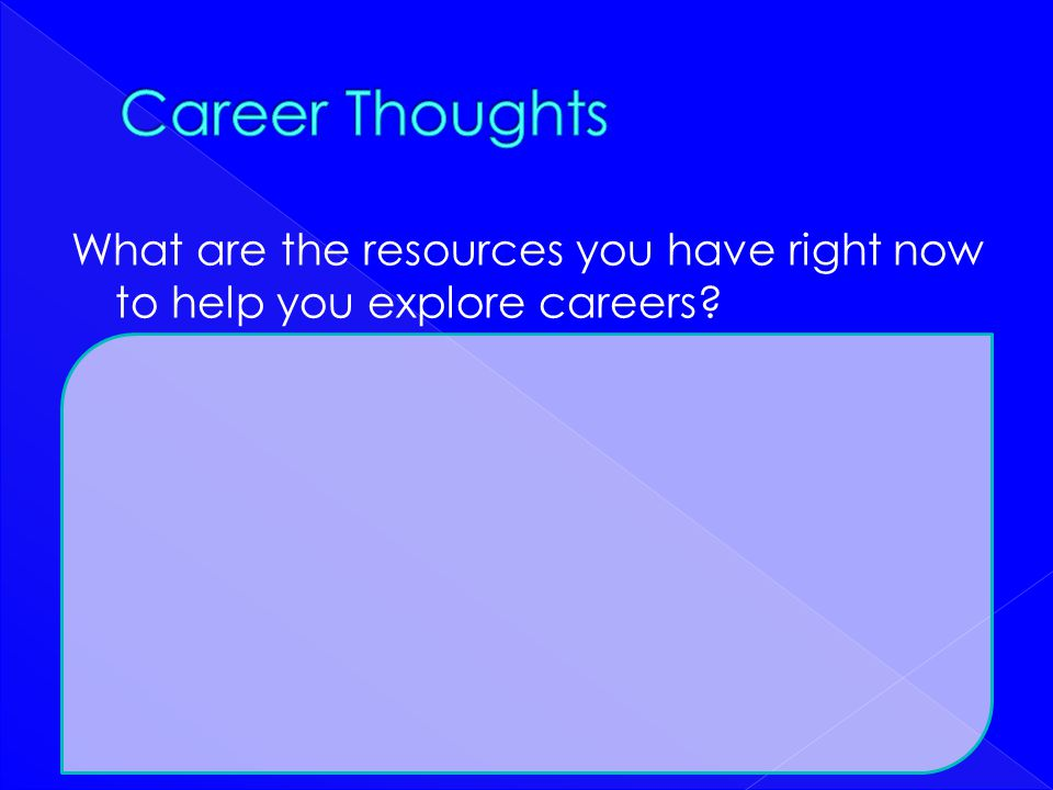 Career Thoughts What are the resources you have right now to help you explore careers