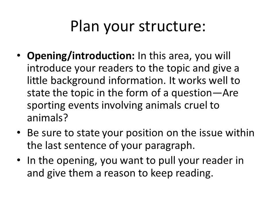 Plan your structure: