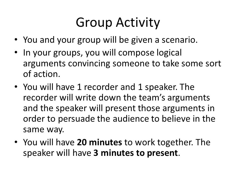 Group Activity You and your group will be given a scenario.