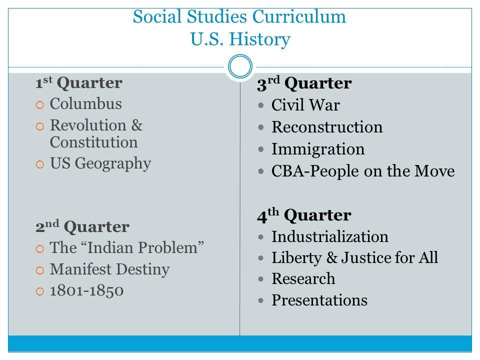 Social Studies Curriculum U.S. History
