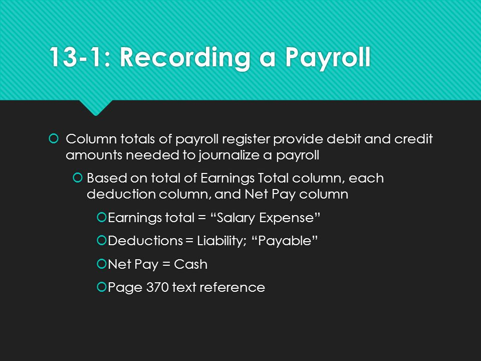 13-1: Recording a Payroll Column totals of payroll register provide debit and credit amounts needed to journalize a payroll.