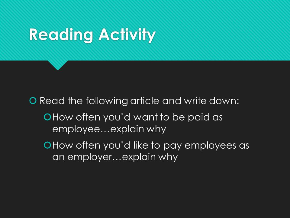 Reading Activity Read the following article and write down: