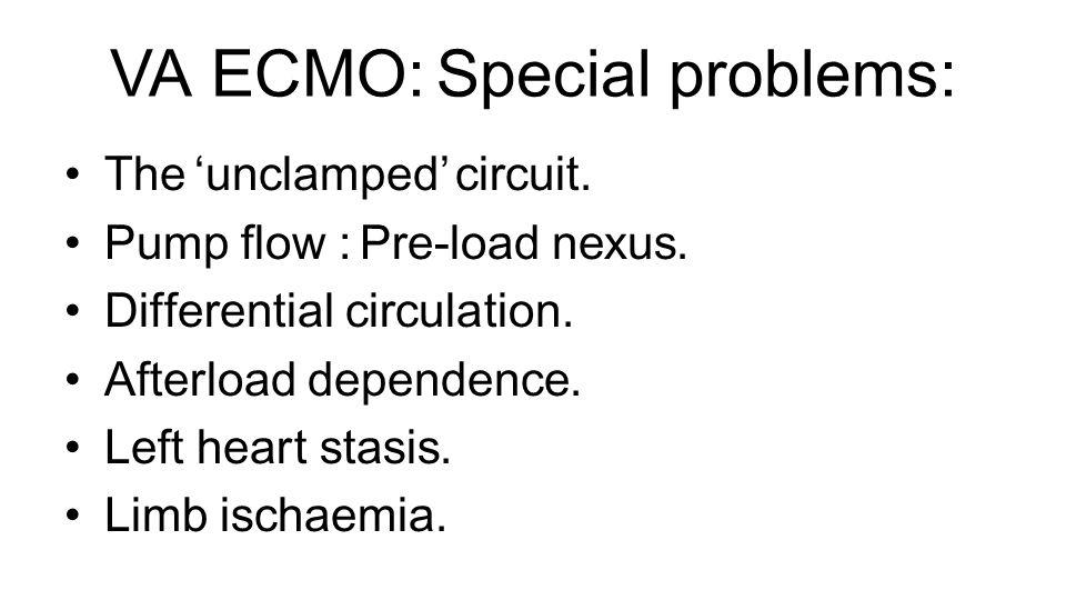VA ECMO: Special problems: