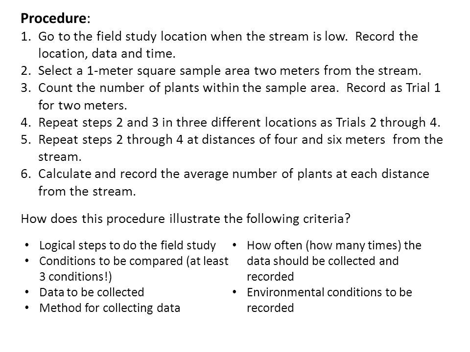 Procedure: Go to the field study location when the stream is low. Record the location, data and time.