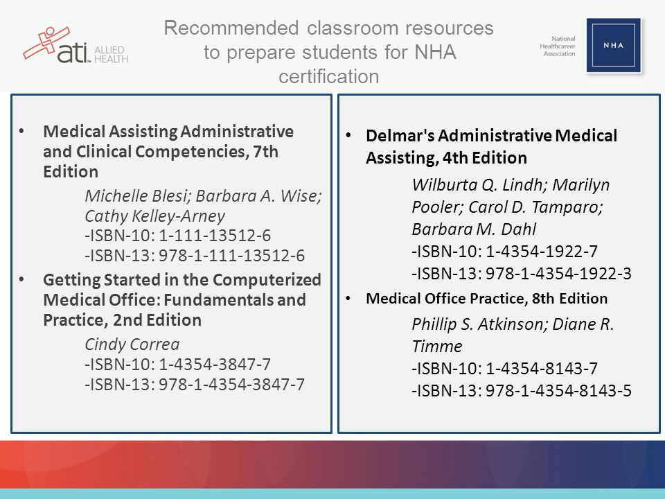 Recommended classroom resources to prepare students for NHA certification