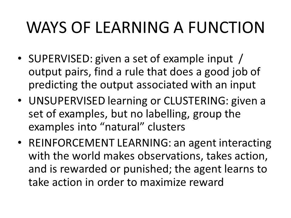 WAYS OF LEARNING A FUNCTION