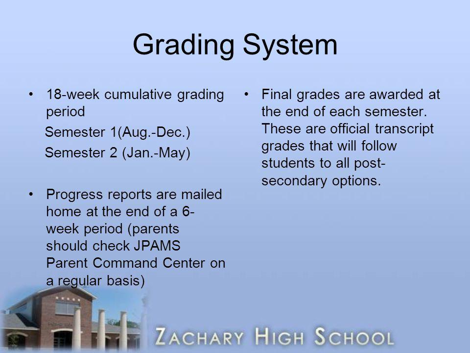 Grading System 18-week cumulative grading period Semester 1(Aug.-Dec.)