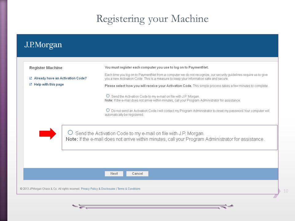 Registering your Machine