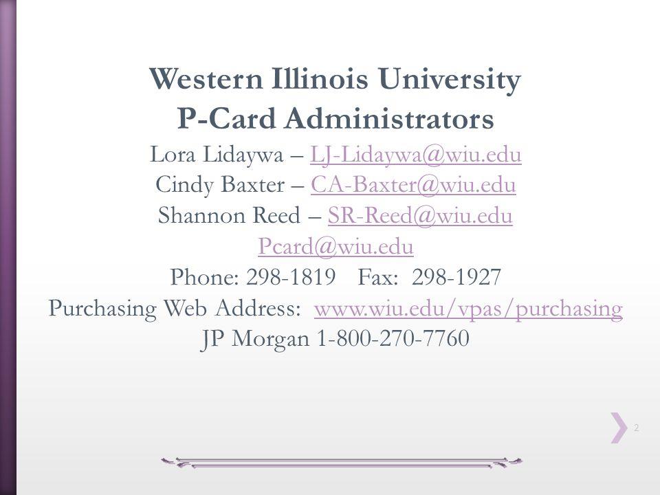 Western Illinois University P-Card Administrators