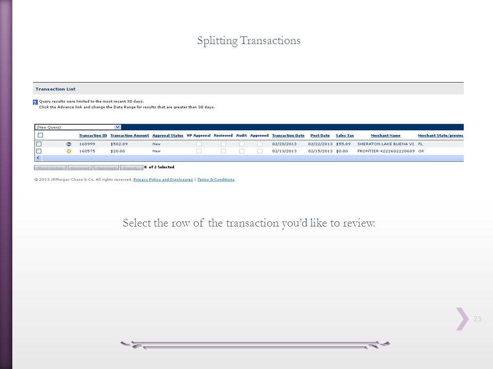 Splitting Transactions