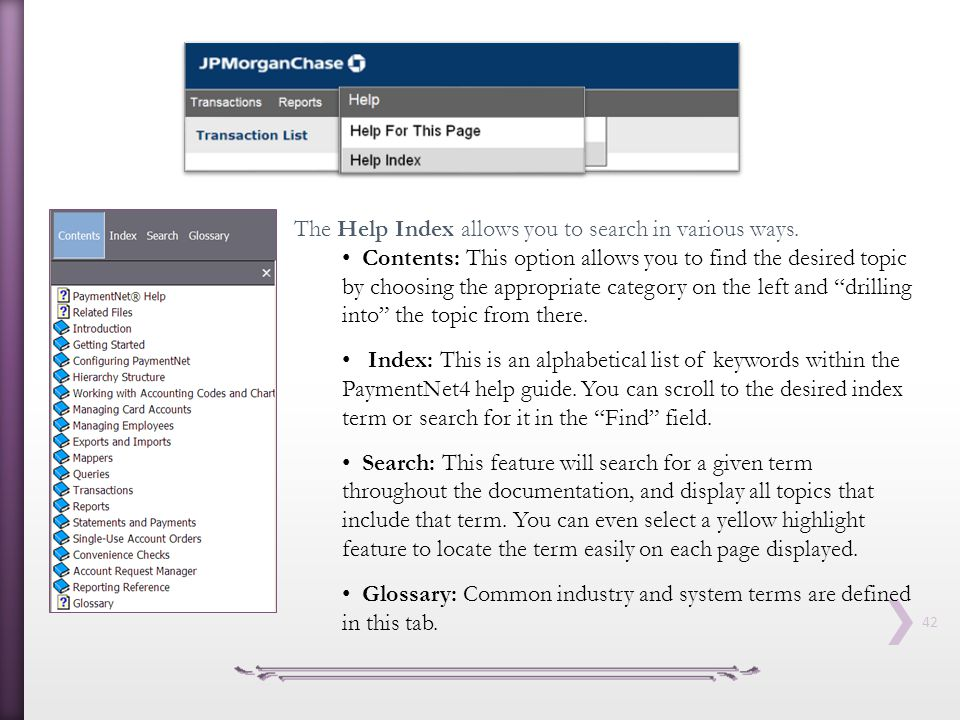 The Help Index allows you to search in various ways.