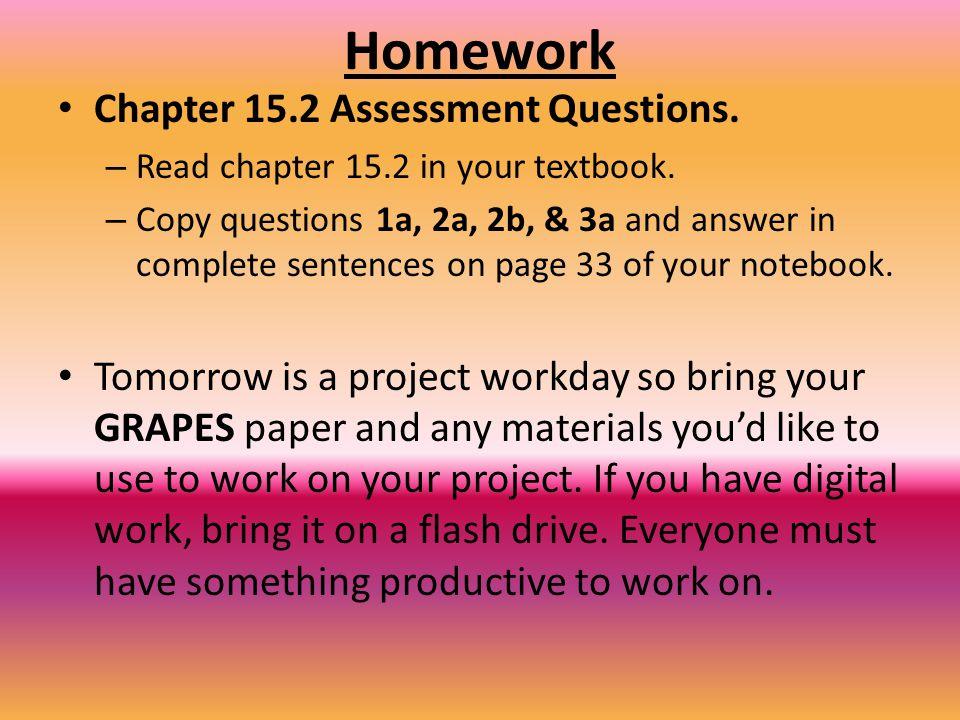 Homework Chapter 15.2 Assessment Questions.