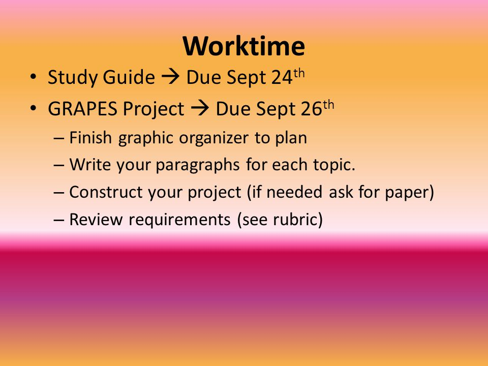 Worktime Study Guide  Due Sept 24th GRAPES Project  Due Sept 26th