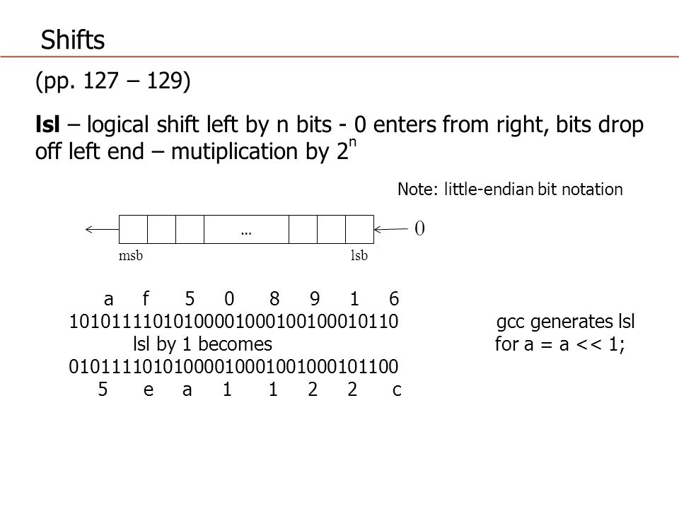 Shifts (pp. 127 – 129) lsl – logical shift left by n bits - 0 enters from right, bits drop off left end – mutiplication by 2n.
