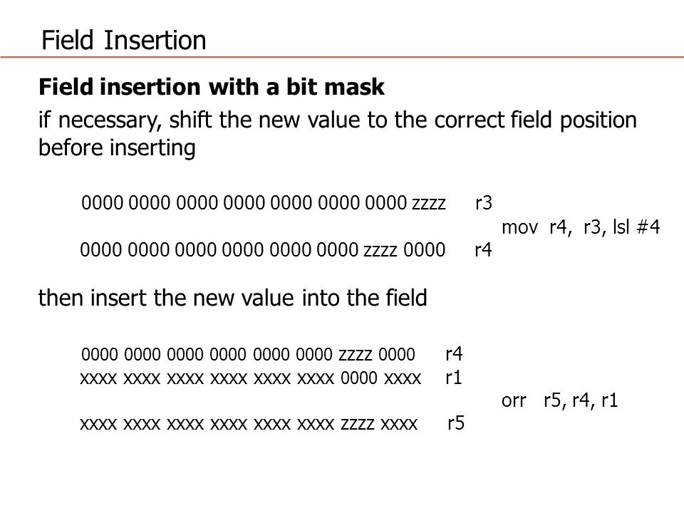 Field Insertion Field insertion with a bit mask