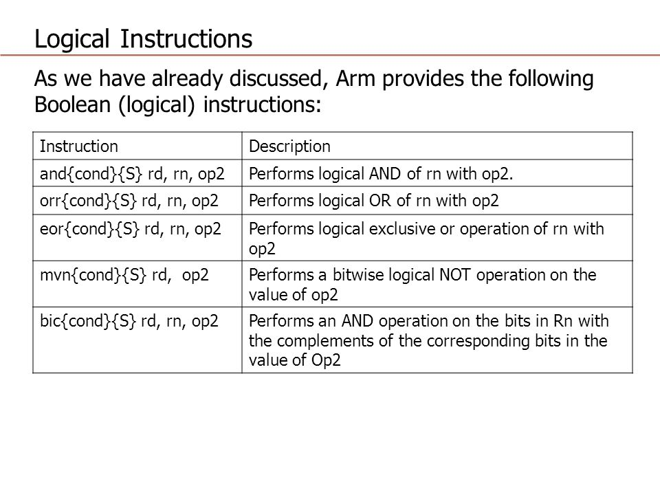 Logical Instructions As we have already discussed, Arm provides the following Boolean (logical) instructions: