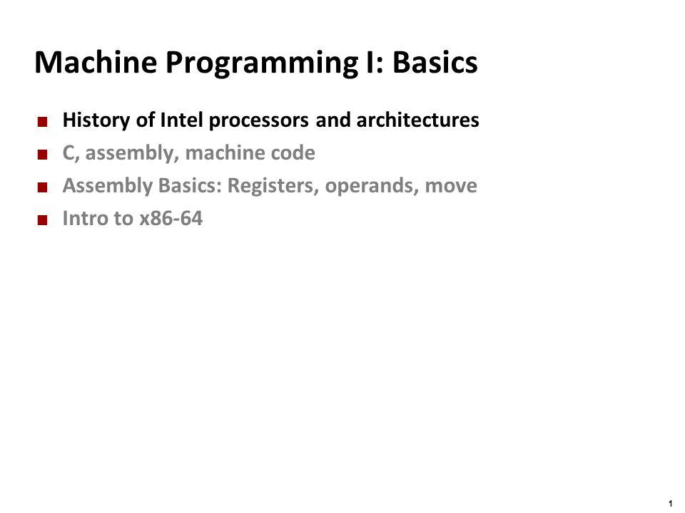 Machine Programming I: Basics