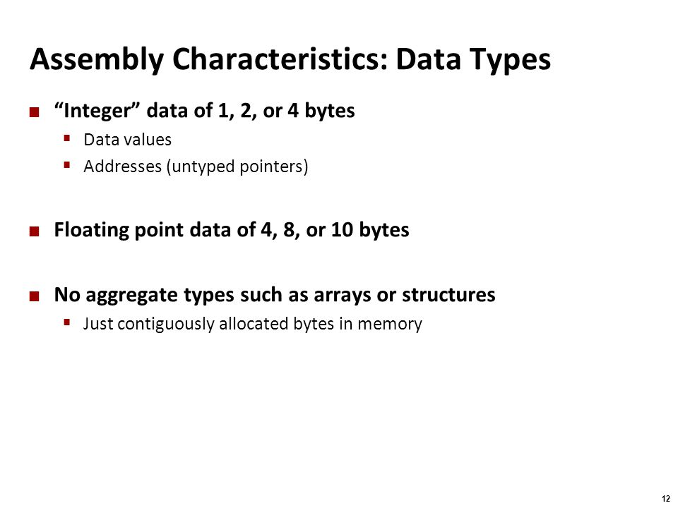 Assembly Characteristics: Data Types