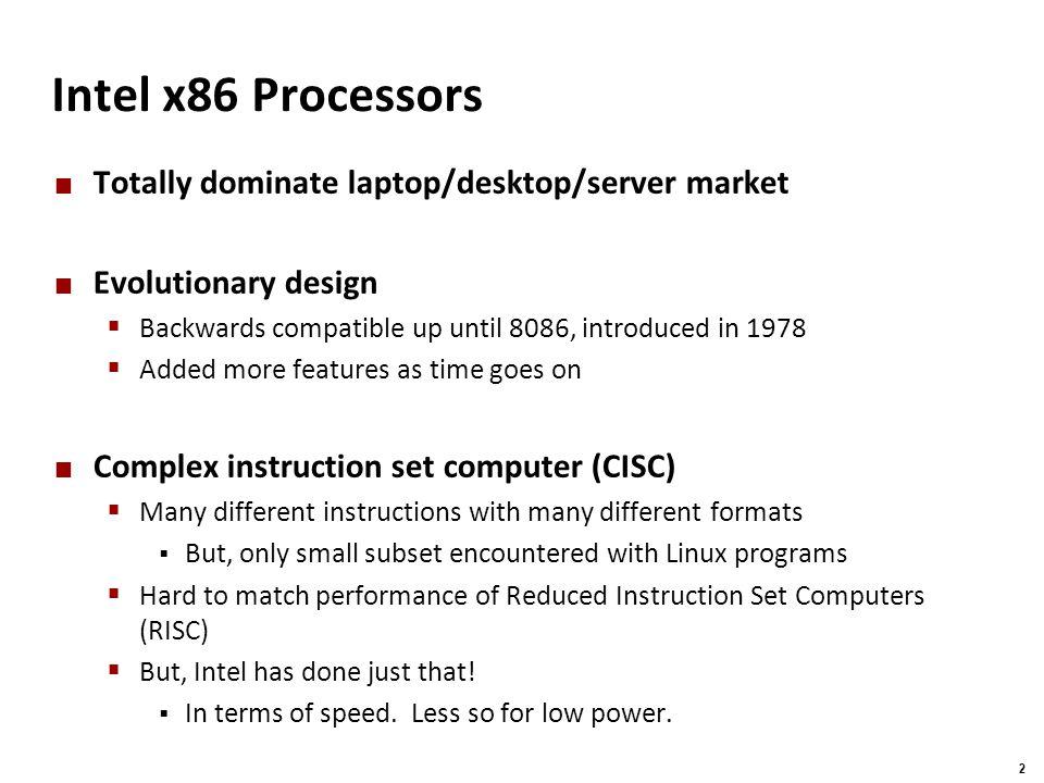 Intel x86 Processors Totally dominate laptop/desktop/server market