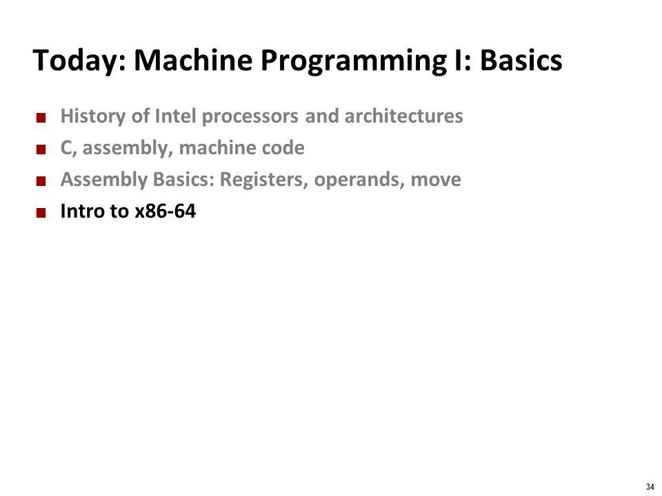 Today: Machine Programming I: Basics
