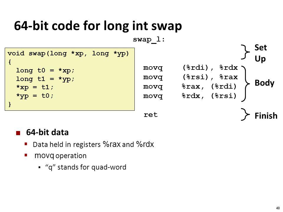 64-bit code for long int swap