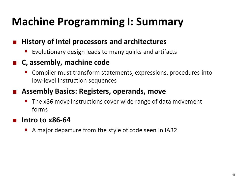 Machine Programming I: Summary