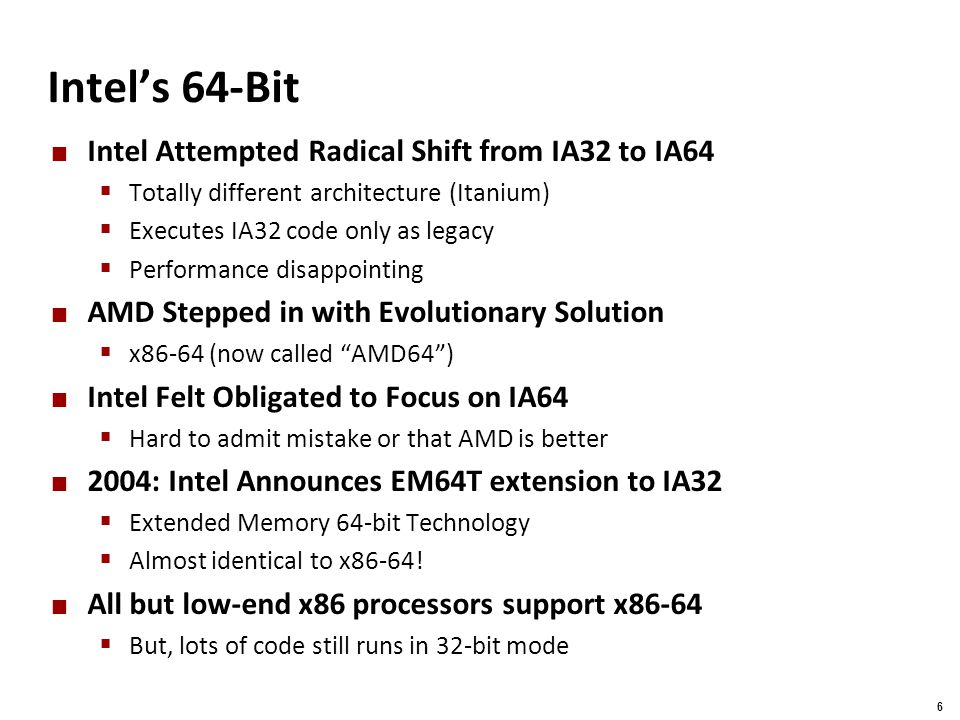Intel's 64-Bit Intel Attempted Radical Shift from IA32 to IA64