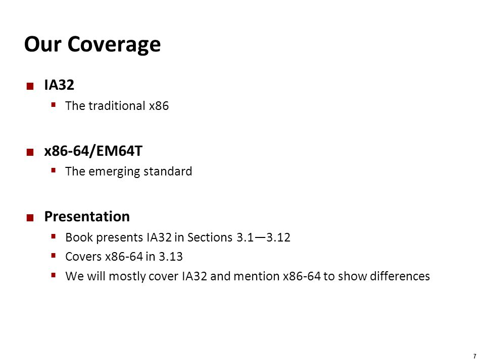 Our Coverage IA32 x86-64/EM64T Presentation The traditional x86