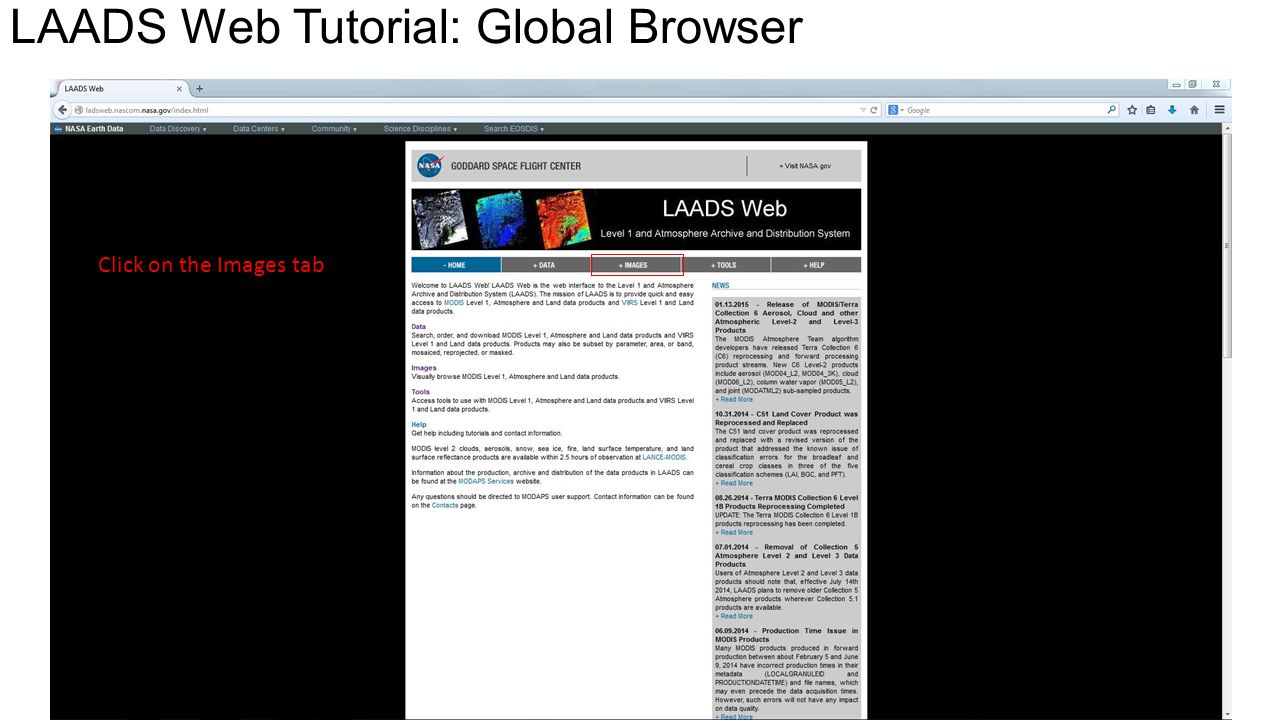 LAADS Web Tutorial: Global Browser