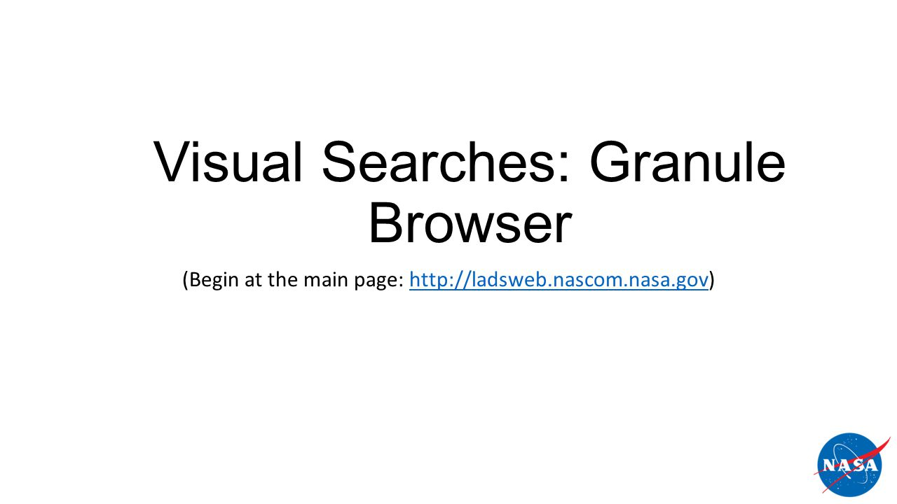 Visual Searches: Granule Browser