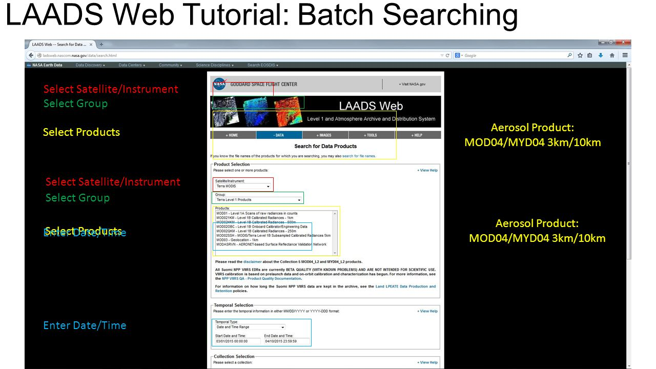 LAADS Web Tutorial: Batch Searching