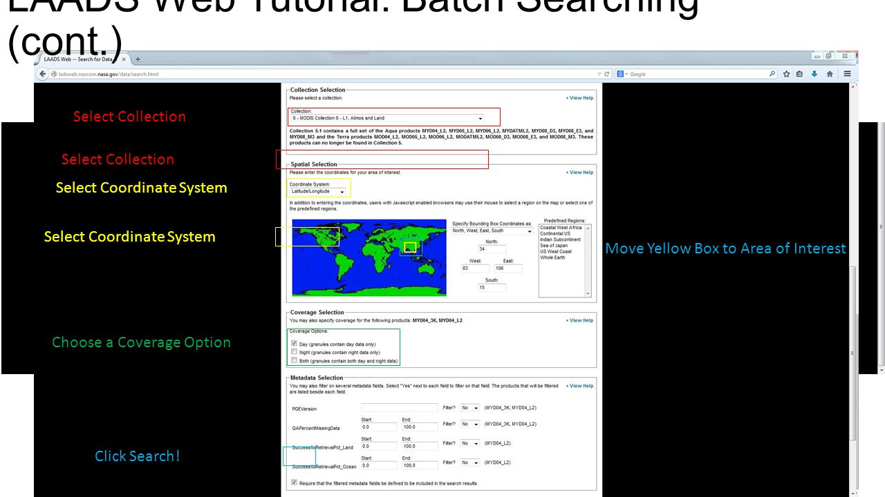 LAADS Web Tutorial: Batch Searching (cont.)