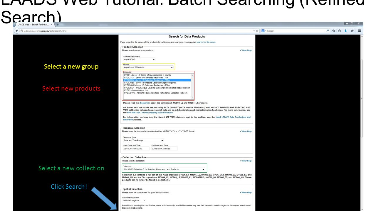 LAADS Web Tutorial: Batch Searching (Refined Search)