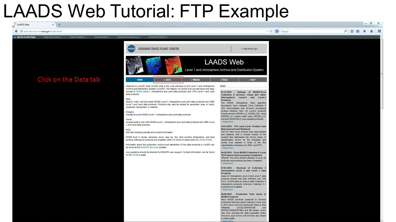 LAADS Web Tutorial: FTP Example