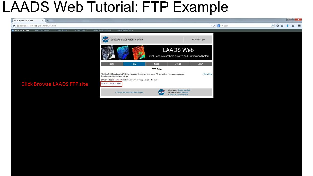 Click Browse LAADS FTP site