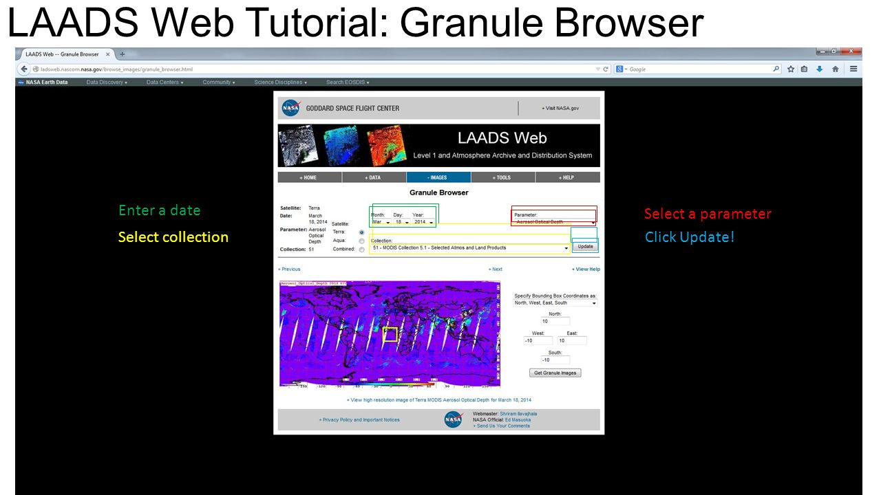 LAADS Web Tutorial: Granule Browser