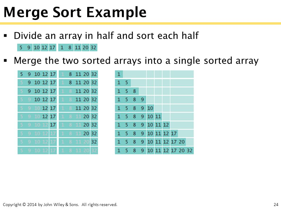 Merge Sort Example Divide an array in half and sort each half
