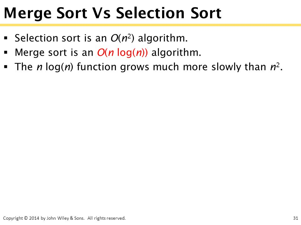 Merge Sort Vs Selection Sort