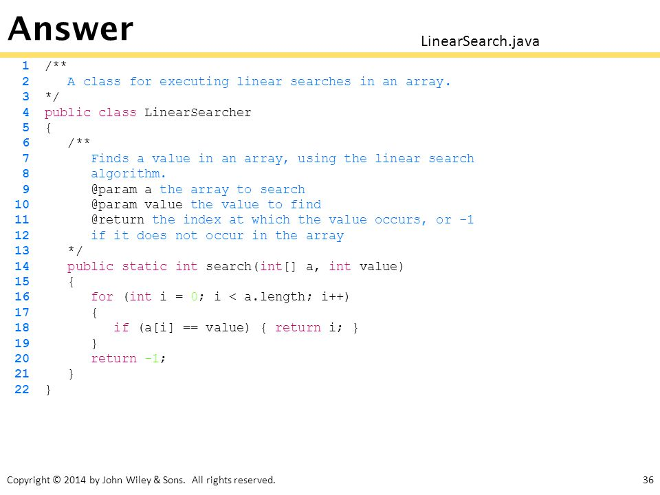 Answer LinearSearch.java