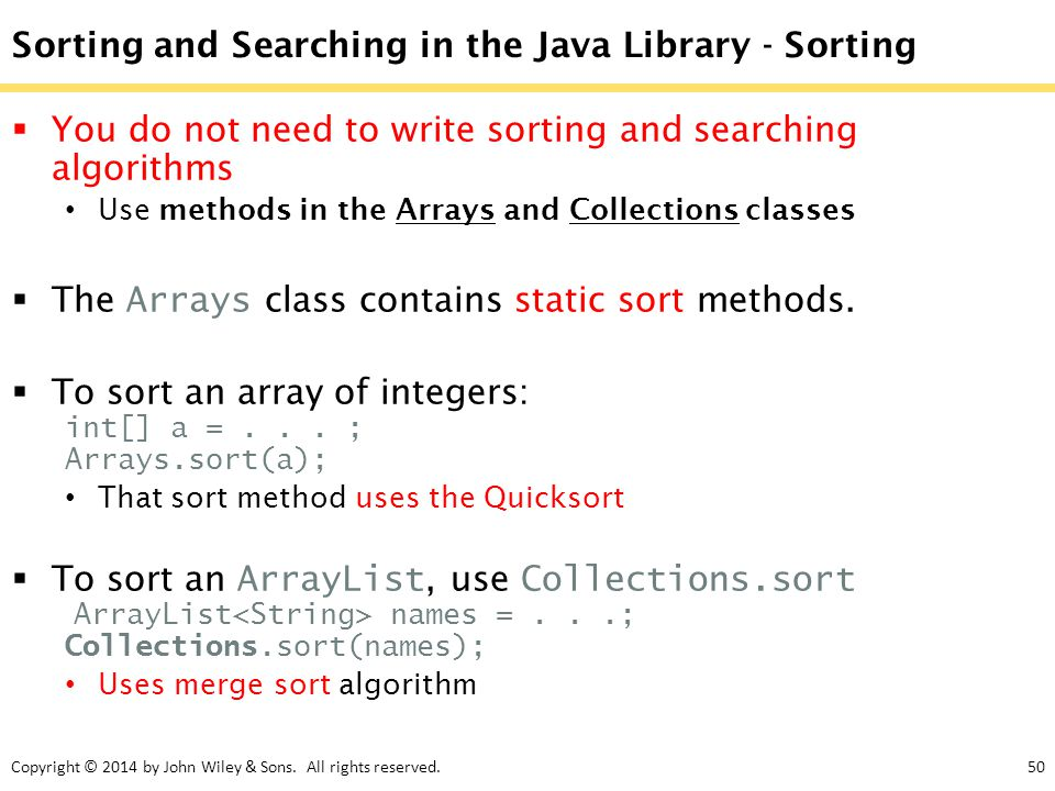 Sorting and Searching in the Java Library - Sorting
