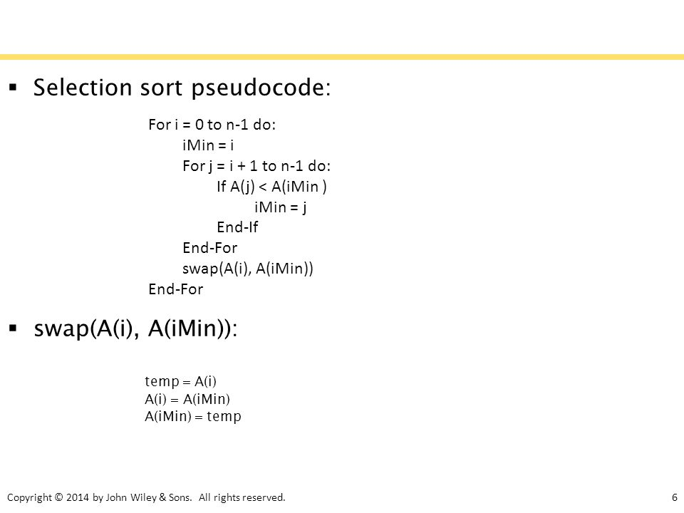 Selection sort pseudocode: