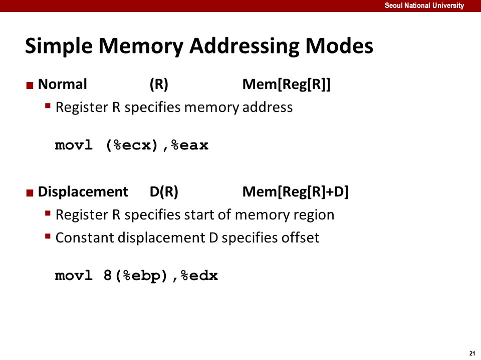 Simple Memory Addressing Modes