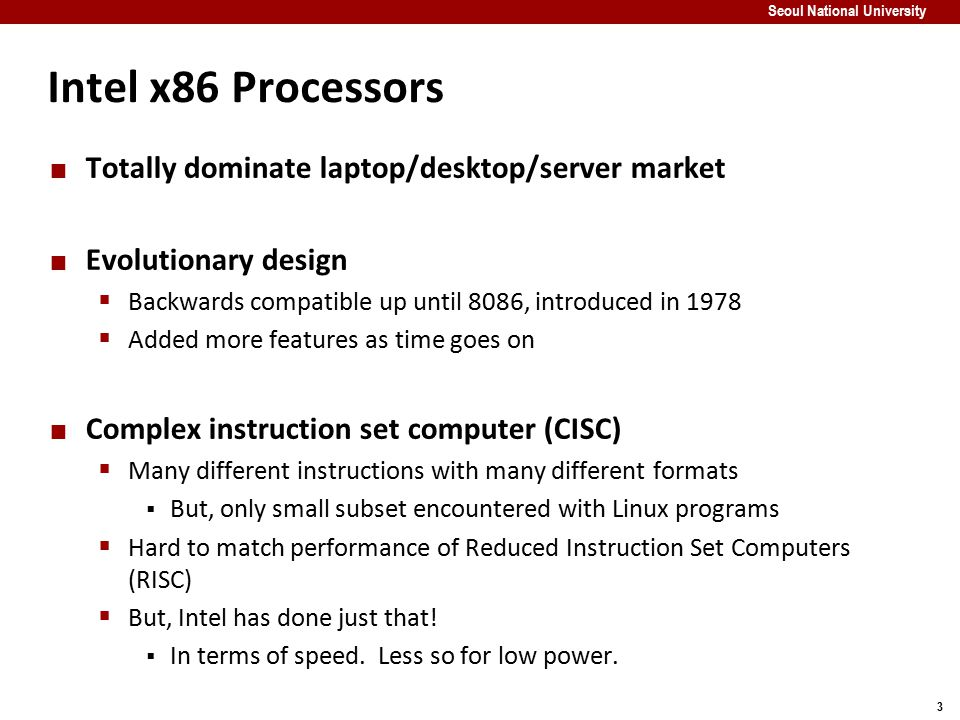 Intel x86 Processors Totally dominate laptop/desktop/server market
