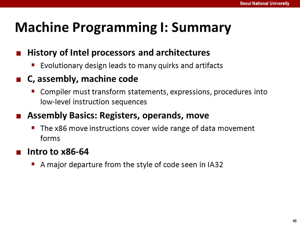 Machine Programming I: Summary