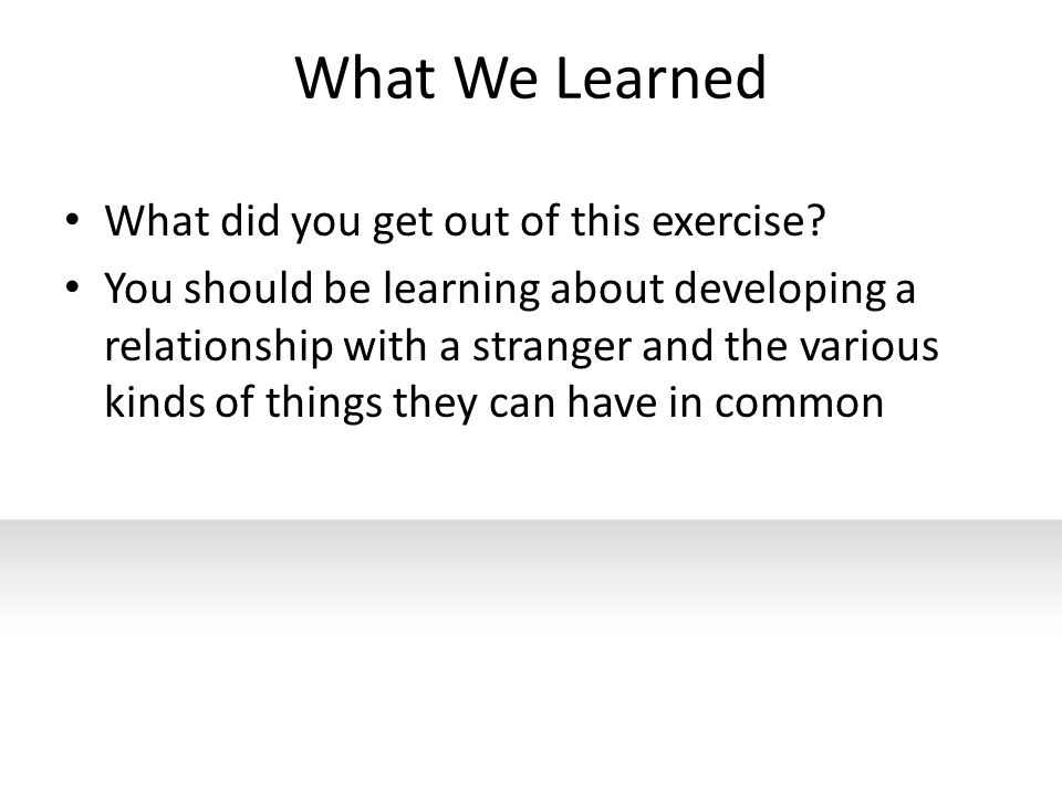What We Learned What did you get out of this exercise