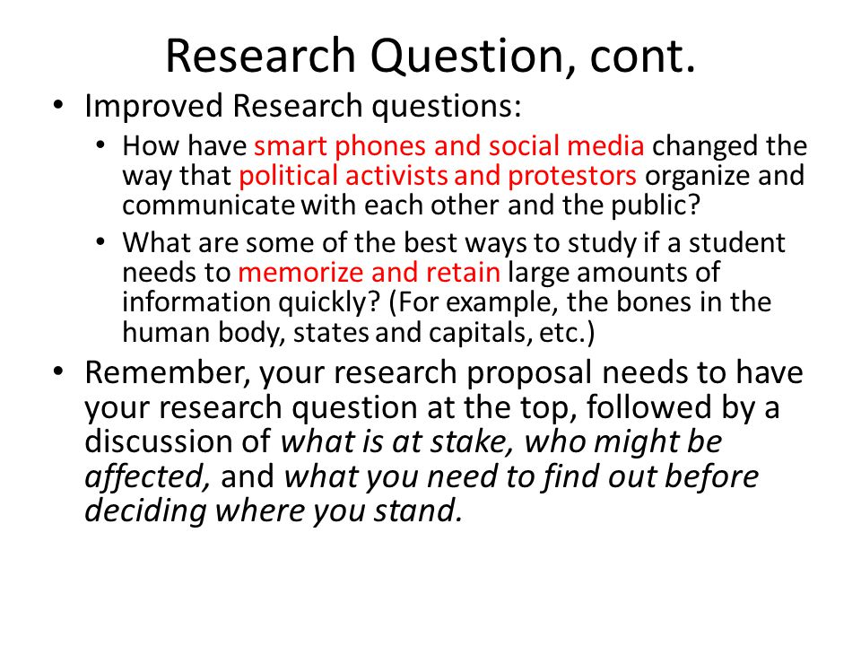 Research Question, cont.