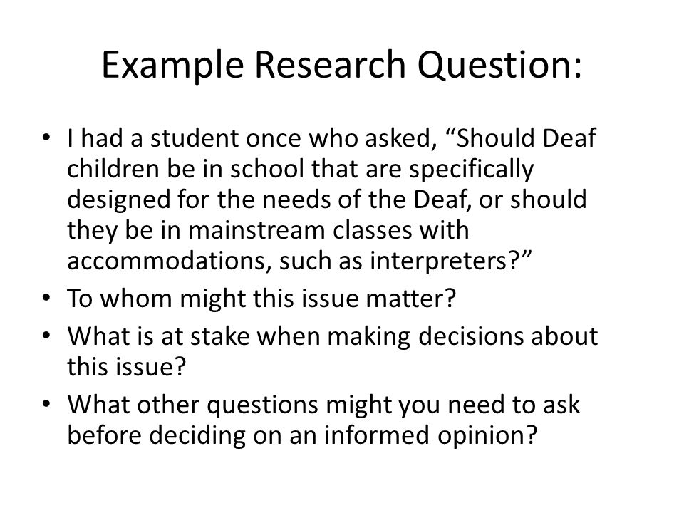 Example Research Question: